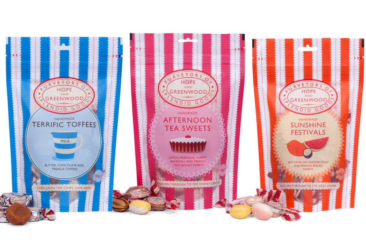 Hope & Greenwood sweet packaging by Broadbase