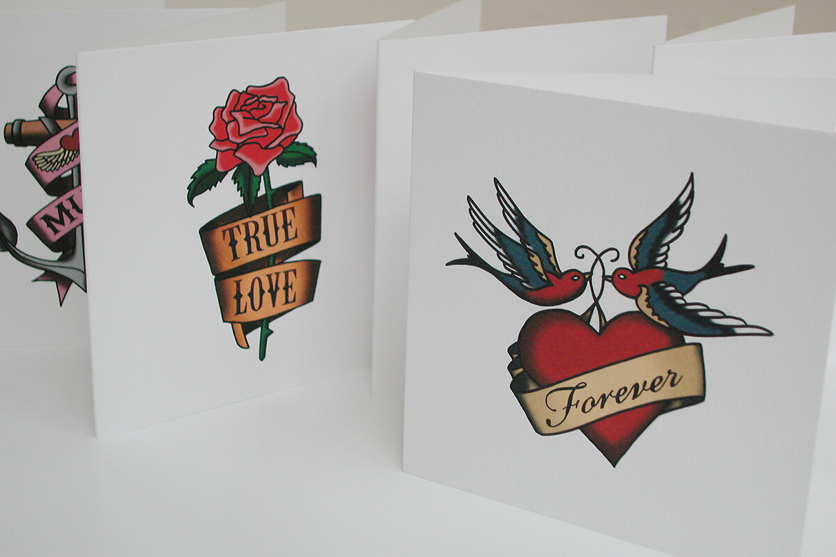 Illustration: fake tattoo greetings cards by Broadbase
