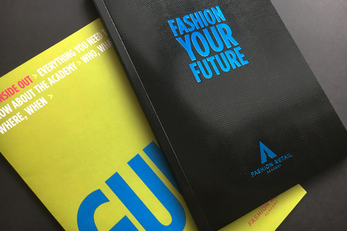 Print collateral, Fashion Retail Academy, design by Broadbase