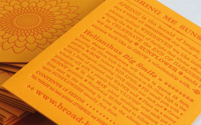 Letterpress seed pack designed by Broadbase